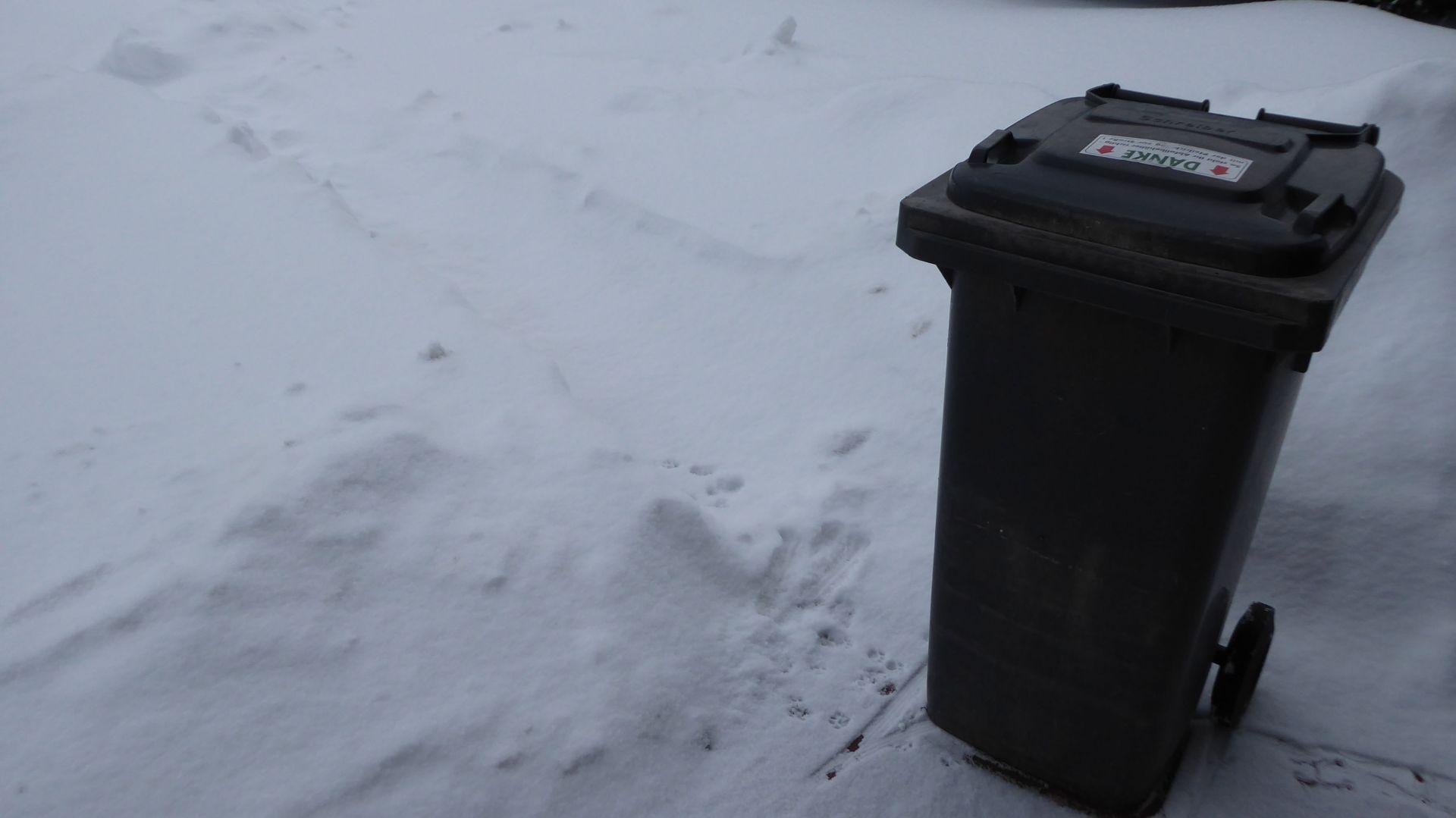 Restmülltonne im Schnee.